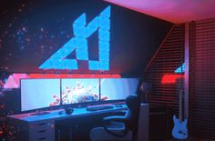 Create a stunning light show in your home with these audiovisual light panels. Simply connect the triangular LED panels together and mount them. The Rhythm module recognizes music so the panels change color in time with the rhythm. Gamer Setup, Gaming Room Setup, Pc Setup, Desk Setup, Gaming Rooms, Gaming Desk, Windows 10, Nanoleaf Aurora, Cool Office Gadgets