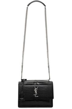 3f2ec14f1cfd Saint Laurent - Black Croc Medium Sunset Chain Satchel. YSL sunset leather  ...