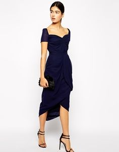 VLabel London Sweetheart Midi Dress with Tulip Skirt - Navy