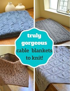 Gorgeous cable blanket designs to knit! These just beg for cashmere yarn. Well-written patterns that contain multiple blanket sizes.
