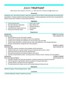 esthetician resume cover letter sample httpwwwresumecareerinfo - Esthetician Resume Sample