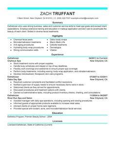 esthetician resume cover letter sample httpwwwresumecareerinfo - Sample Resume And Cover Letter