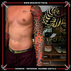 Designed and Tattooed by: Sjonnie Gentille Dragon Tattoo. Dad Tattoos, Sleeve Tattoos, Religious Images, Japanese Style, Very Well, Top Artists, Dragon, Sleeves, Tattoo Sleeves
