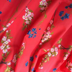 CHERRY BLOSSOM Vintage Cotton Sewing Fabric 2.75 yds  Fine Gorgeous Fabrics, Vintage Textiles, Vintage Cotton, Textile Design, Cherry Blossom, Color Schemes, Vintage Items, Cotton Fabric, Coral