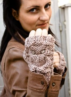 Owl fingerless gloves , mittens in beige. $37.00, via Etsy.