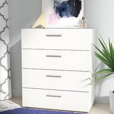 Zipcode Design™ Dendron 8 Drawer Double Dresser & Reviews | Wayfair 4 Drawer Dresser, 3 Drawer Chest, Chest Of Drawers, Ikea Drawers, Closet Drawers, Vanity Set With Mirror, Dresser With Mirror, Small Dresser, Modular Storage