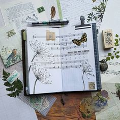 Art Journal pages, inspiration and ideas for keeping an art journal or a midori travel journal, notebook, or scrapbook