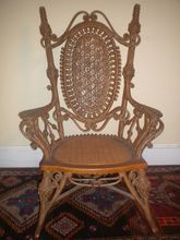 Very Rare Ornate Antique Natural Victorian Wicker Rocker of Museum Quality Circa 1894 Heywood Brothers and Company