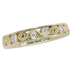 This diamond wedding band is customized in yellow gold. Ideal Cut Diamond, Diamond Cuts, Diamond Wedding Bands, Wedding Rings, Curls, Gold Rings, Give It To Me, White Gold, Rose Gold