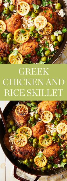 Greek Chicken and Rice Skillet #purewow #easy #food #dinner #recipe #cooking
