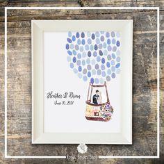 Wedding Guest Book Watercolor Fingerprint Guest Book  Hot Air