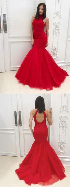 gorgeous prom dress, red prom dress, 2018 prom dress, mermaid long prom dress, prom dress with open back