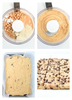 How to make chickpea blondies - ChaysingVegan - Ingredients 1 can Chickpea of oz) – drained, towel dried cup Peanut butter – or su - Protein Desserts, Healthy Vegan Desserts, Vegan Dessert Recipes, Vegan Treats, Vegan Dark Chocolate, Chocolate Recipes, Vegan Croissant, Vegan Blondies, Levain Bakery