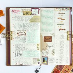 36th week 🍁 . . . . . . . . . . . . .  #midoritravelersnotebook #midori #travelersnotebook #mtn #tn #rubberstamp #journal #journaling #thedailywriting #stamps #stickers #postage #vintage #art #brushcalligraphy #brushpen #brushlettering #calligraphy #quotestoliveby #quoteoftheday #quote #cavallini #oreo #cheesecake