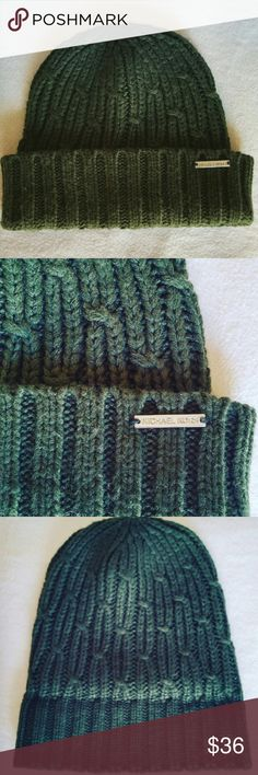Michael Beanie Unique knitted beanie in soft, wooly acrylic. Very warm and comfy. Color is a rich forest green. Gently warn a few times. 100% acrylic. Michael Kors Accessories Hats