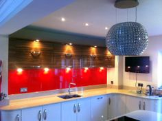Red Kitchen Glass Splashback for the festive season Red Kitchen, Glass Kitchen, Clear Glass, Round Glass, Glass Splashbacks, Animal Room, Glass House, Colored Glass, My Dream Home