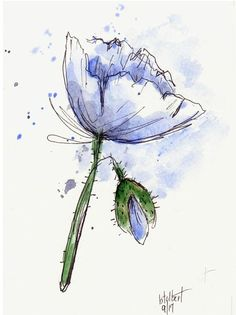 Poppy Flower Original Watercolor Art Painting Pen and Ink #watercolorarts