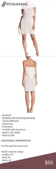Crochet bandeau ruffle back dress Gorgeous lace dress in ivory with ruffle detailing. Beautiful for all of your dress needs. No trades. Dress the Population  Dresses