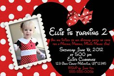 Minnie Mouse Custom photo Birthday Printable Disney Invitations pink or red