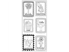 "Hampton Art Art Warehouse Clear Stamps 4""X9"" Sheet Block Words Phrases"