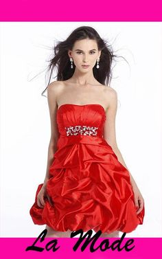 Simple Beaded Short Prom Dress via La Mode. Click on the image to see more!