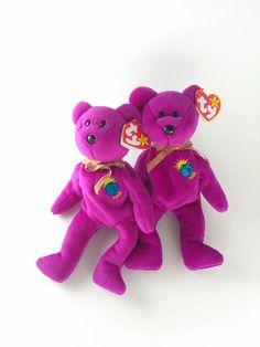 Millenium Ty Beanie Baby (Millennium) Bear with errors VERY RARE! 4 Spelling Errors! + Plus Millennium Bear with no errors! (friends)