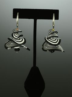 Petals Earrings in Black White Mix by Arden Bardol: Polymer Clay Earrings available at www.artfulhome.com. 130.00
