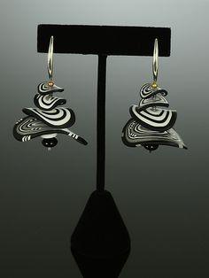 Petals Earrings in Black White Mix: Arden Bardol: Polymer Clay Earrings - Artful Home