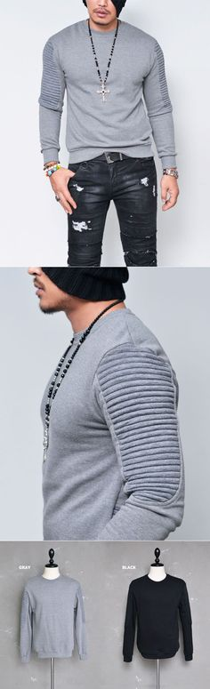 Tops :: Tees :: Embossed Seaming Fleece Round-Tee 588 - Mens Fashion Clothing For An Attractive Guy Look