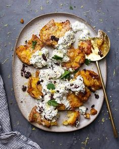 Smashed Lemony Potatoes topped with Yogurt, Feta . The chunky Feta dressing is fresh herb strong with so many great flavors in each bite and is a perfect foil to the extra crispy lemony potatoes! Vegetarian Recipes, Cooking Recipes, Healthy Recipes, Vegan Meals, Diet Recipes, Greek Recipes, Salmon Recipes, Recipes Dinner, Recipes With Greek Yogurt