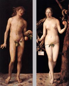 Albrecht Dürer, 'Adam' and 'Eve' ('Adam' und 'Eva'), 1507. Oil on panel, 209 x 81 cm and 209 x 80 cm (Museo Nacional del Prado, Madrid).