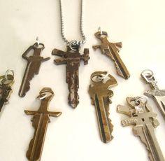 Sword/Gun Key Necklace. $40.00, via Etsy.
