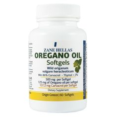 Zane Hellas Oregánó olaj lágyzselatin kapszula 60 db | 100% tiszta oregánó olaj lágyzselatin kapszula. Az oregánó olaj a természet antibiotikuma. Baktériumölő hatása a penicillinével vetekszik. Csillapítja a köhögést, nyugtatja a gyomrot és a belek izmait, segíti az emésztést. Számos betegséget megakadályozhat, mint például a krónikus gyulladásokat és a daganatos megbetegedéseket. Krónikus gyulladás, magas vérnyomás és koleszterinszint, valamint szívproblémák esetén is érdemes naponta… Oregano Oil, Essential Oils, Pure Products, The Originals, Food, Greek, Essen, Meals, Yemek