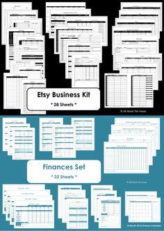 Etsy Business Kit & Finance Set Printables - Home Organisation - Household Binder - 61 sheets - 2 Value Packs. $26.00, via Etsy.