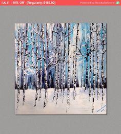 Birch Tree and Aspen Trees Painting Winter por ArtbySusieTiborcz