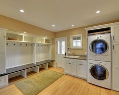 Best Laundry Room Design for Your Home Decor : Beautiful Traditional Laundry Room With Stacked Laundry Machines And Open Shelving