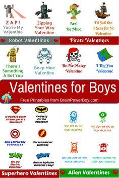 Free Printable Valentines for Boys