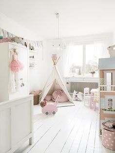 White and soft pink girl's room