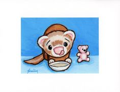 """Art by Shelly Mundel. Ferrets   """"Soupie Time With a Friend"""" 5x7 inch Canvas  #OutsiderArt"""