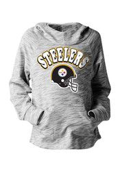 Pitt Steelers Girls Black Space Dye Hooded Sweatshirt