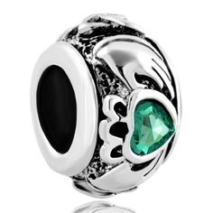 Emerald Green Swarovski Elements Irish Claddagh Friendship and Heart European Bead by Pugster - Fits All Brand Charm Bracelets Trollbeads, Chamilla and Pandora