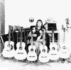 Steve Howe of Yes with his acoustic guitar collection, circa John Wetton, Yes Music, Steve Howe, Psychedelic Bands, Yes Band, Steel Guitar, Music Pics, Guitar Collection, Progressive Rock
