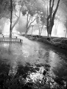 Nimsay Hernandez toma la lluvia en el parque de Tlaxcala
