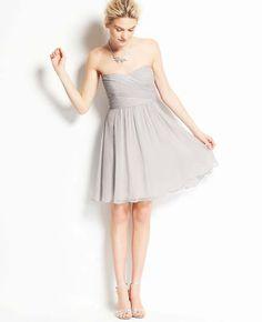 Petite Silk Georgette Strapless Dress - Ann Taylor