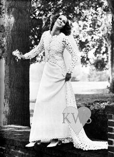 Vintage CROCHET Jacket & knitted Dress PDF Pattern - Wedding / Gothic Evening