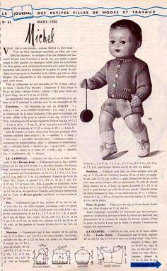 PAR AMOUR DES POUPEES :: M&T 1960-03 ensemble cardigan-culotte pour Michel (tricot)