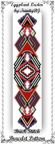 BP-BR-130 - Eggplant Luster - Brick Stitch Abstract Bracelet Pattern - One of a Kind In The RAW Design