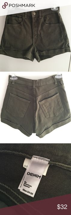 💲SALE!💲American Apparel denim high waist short Stretch bull denim high waist cuff short from American Apparel in forest green. Size 24/25. Super comfy, stretchy denim. Barely worn. No flaws. American Apparel Shorts