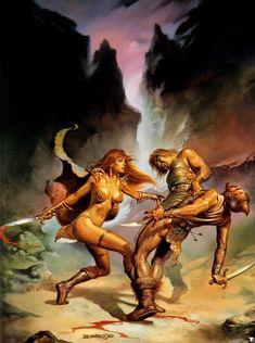 Original Boris Vallejo cover art from Red Sonja: When Hell Laughs paperback novel, Boris Vallejo, Fantasy Women, Fantasy Girl, Dark Fantasy, Julie Bell, Comic Kunst, Comic Art, Comic Books, Dcc Rpg