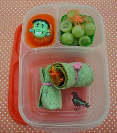 Frankenwrap for plant based vegan Halloween lunch in @EasyLunchboxes